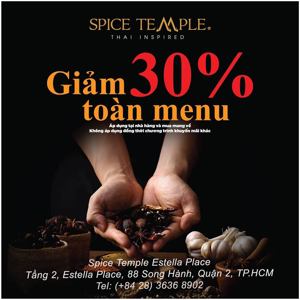 Enjoy a standard Thai meal with 30% Discount