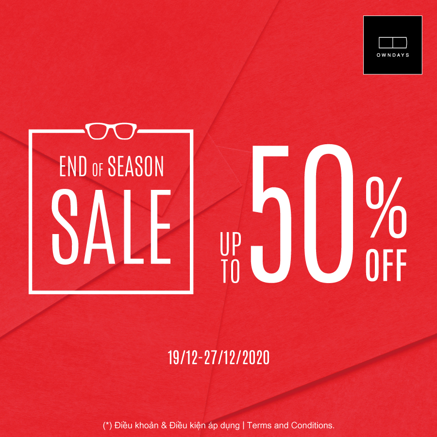 OWNDAYS END OF SEASON SALE UP TO 50%