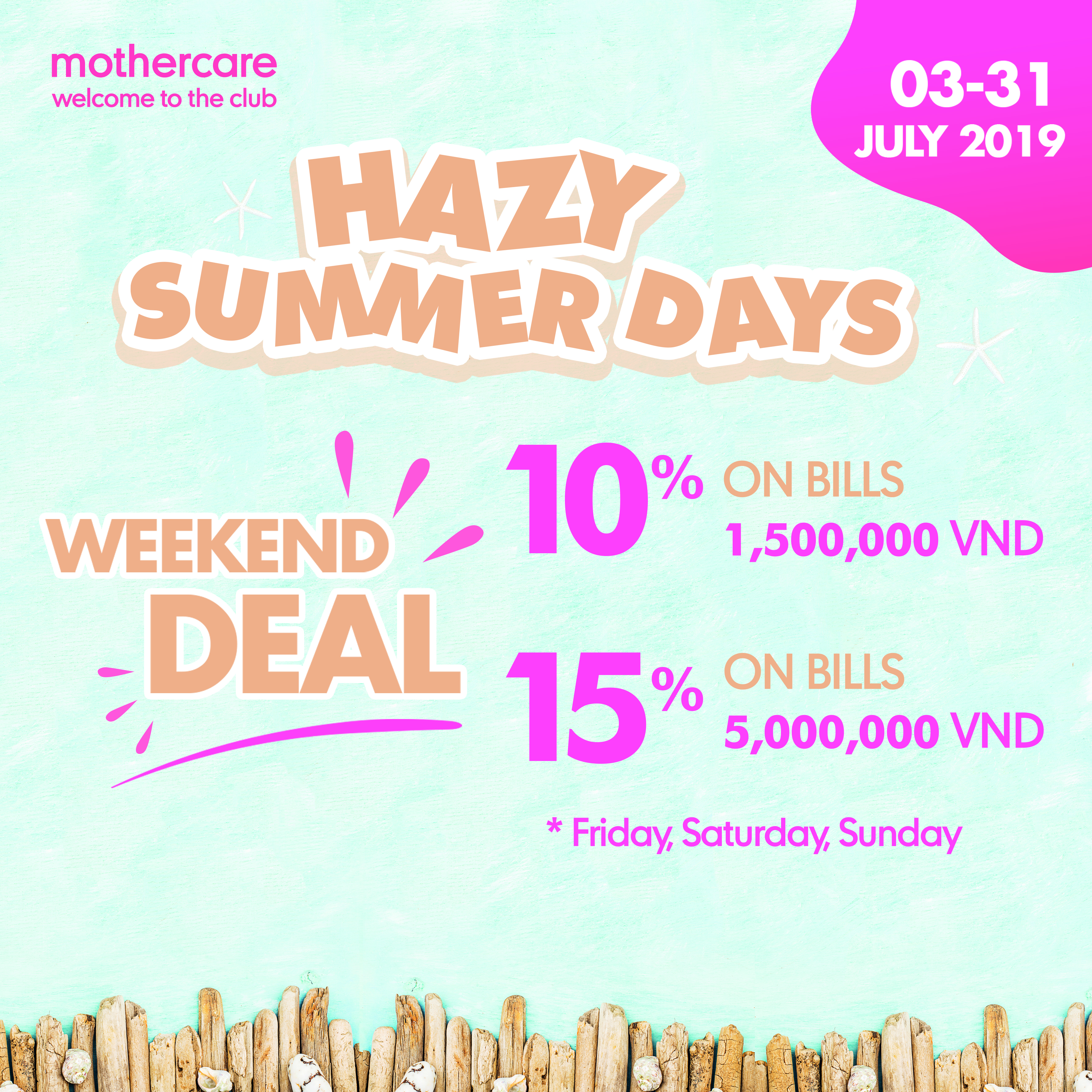 MOTHERCARE – HAZY SUMMER DAYS FROM 03 – 31 JULY, 2019 AT ESTELLA PLACE