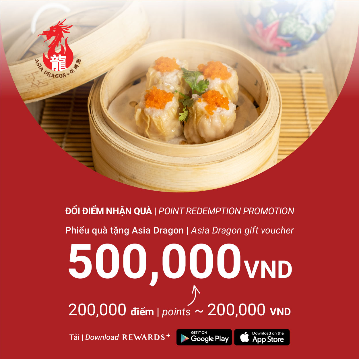 🎉IT'S DIM SUM TIME WITH GIFT VOUCHER VALUED VND500,000 FROM ASIA DRAGON - ESTELLA PLACE🎉